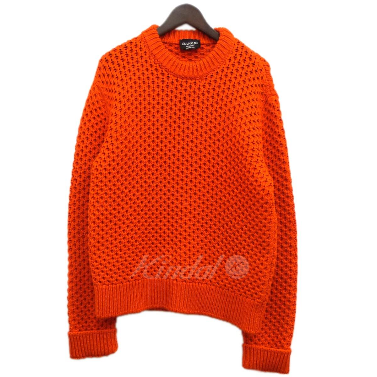 【中古】CALVIN KLEIN 205W39NYC 17AW ローゲージニットセーター オレンジ サイズ:L 【送料無料】 【231018】(カルバンクライン205W39NYC)