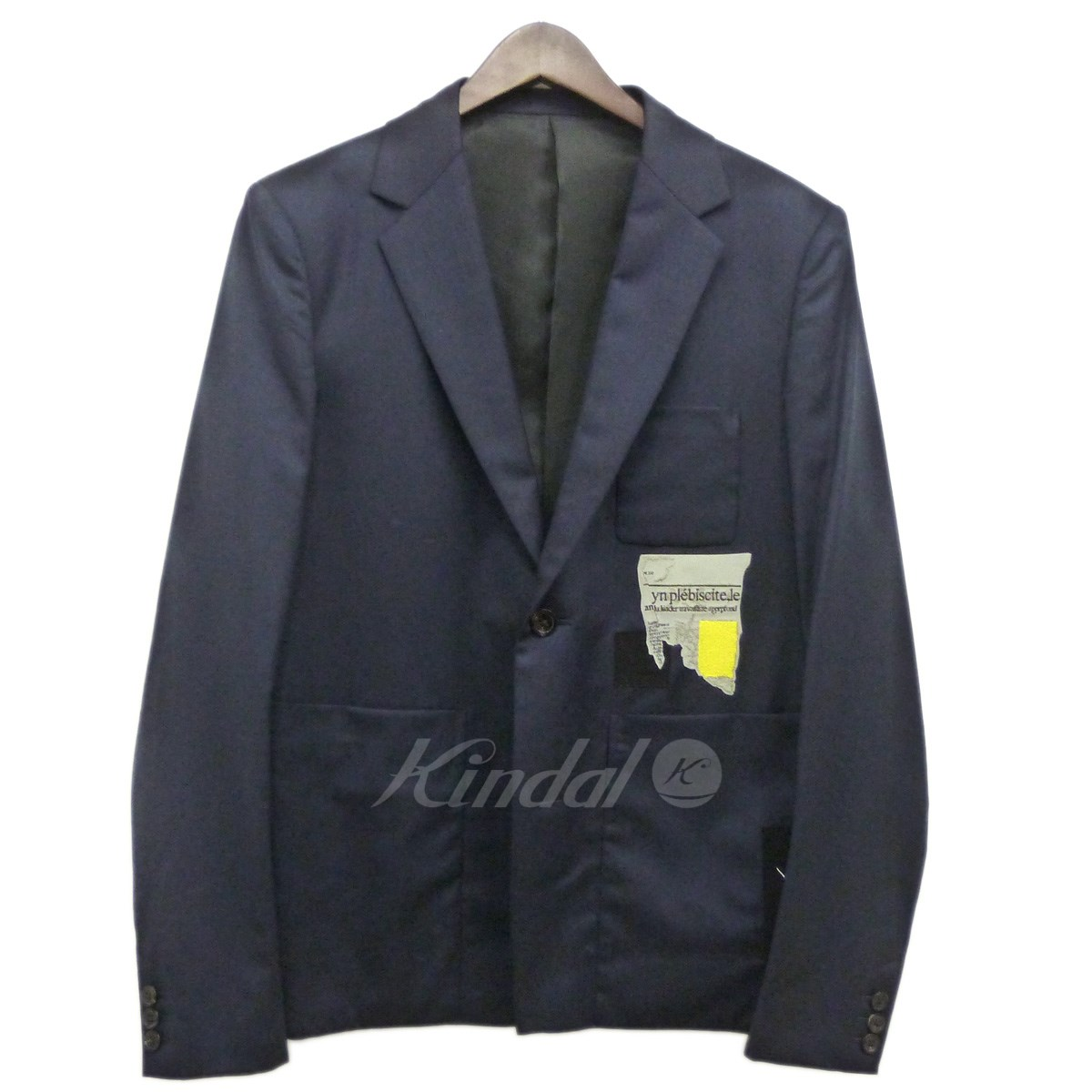 【中古】ALMOSTBLACK 17AW ワッペンテーラードジャケット ネイビー サイズ:1 【送料無料】 【231018】(オールモストブラック)