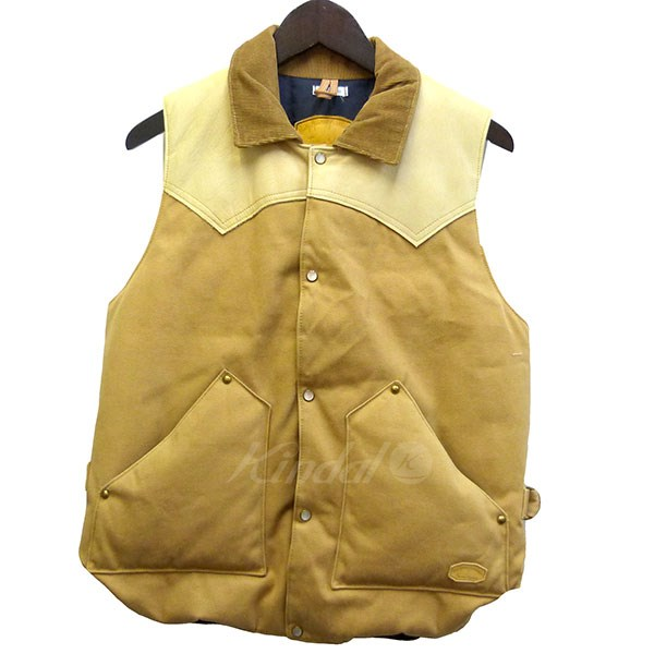 【中古】Rocky Mountain Featherbed co WARE HOUSE別注「CHRISTY VEST」ヨークレザーダウンベスト 【送料無料】 【004793】 【KIND1641】