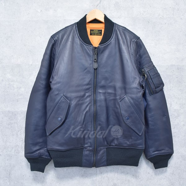 【中古】UNIFORM EXPERIMENT×ALPHA LEATHER MA-1 レザーブルゾン 15AW 【送料無料】 【175664】 【KIND1550】