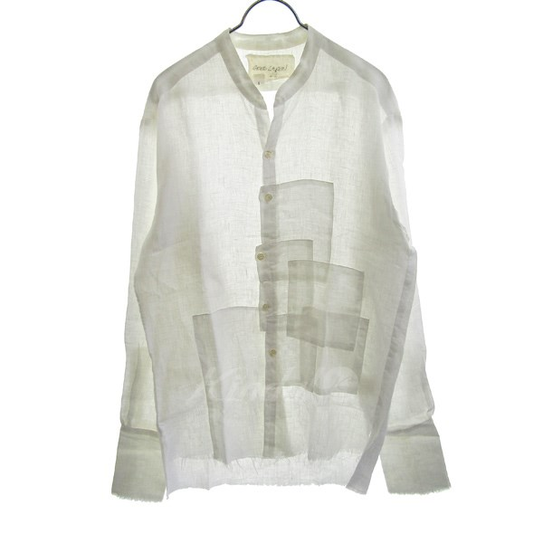 【中古】GREG LAUREN LINEN WHITE CROOKED PATCHWORK STUDIO SHIRT 【送料無料】 【099593】 【KIND1641】