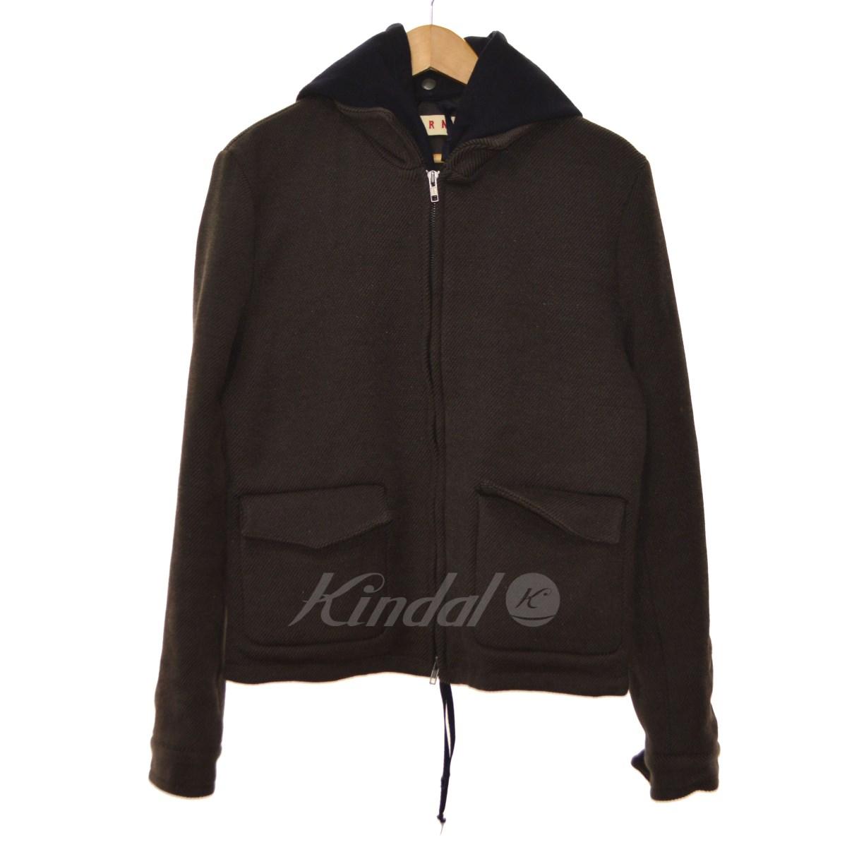【中古】MARNI ライナー付きレイヤードジャケット ブラウン サイズ:44 【送料無料】 【251018】(マルニ)