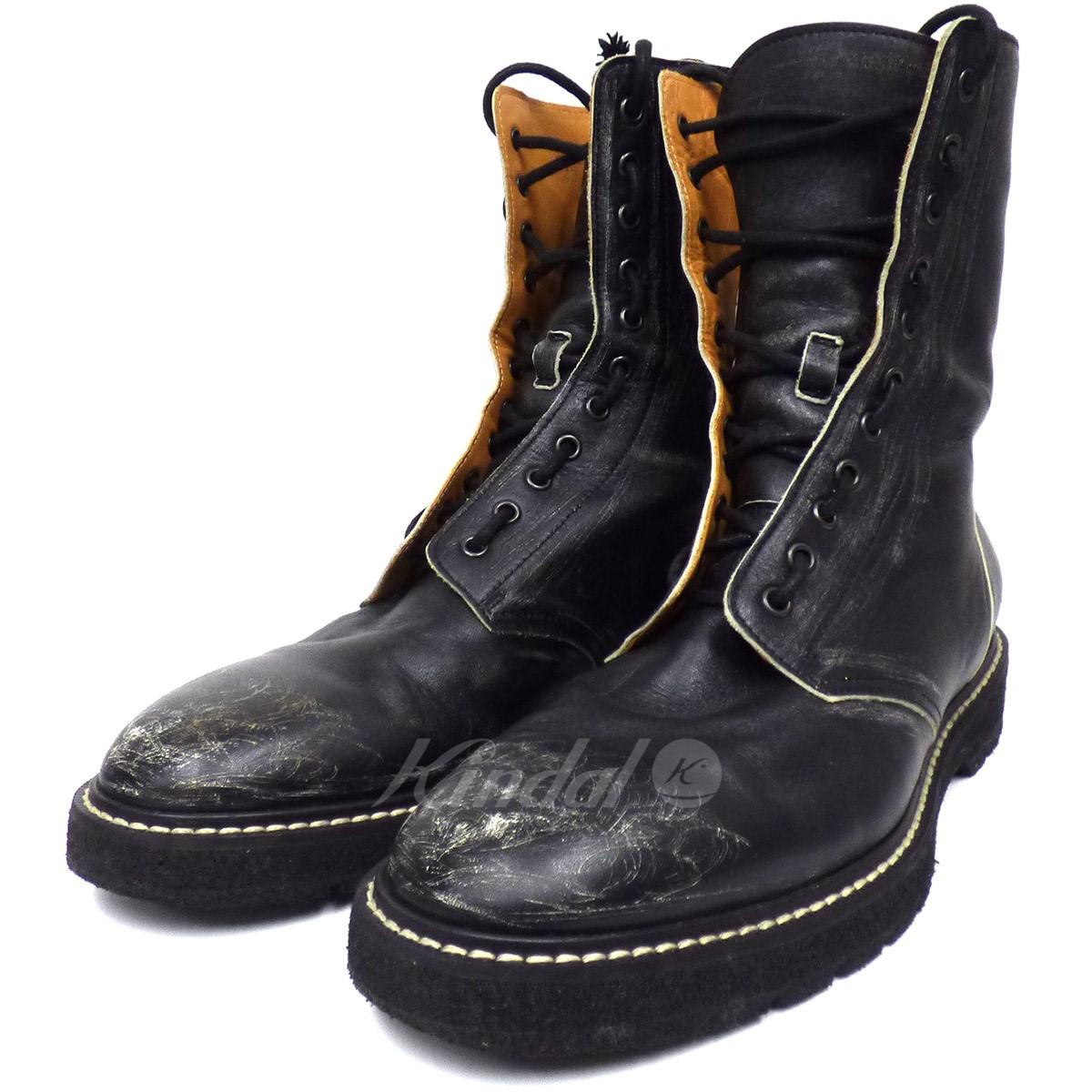 【中古】Maison Margiela 22 USED加工レースアップブーツ ブラック サイズ:42(26cm~27cm) 【送料無料】 【241018】(メゾン マルジェラ22)