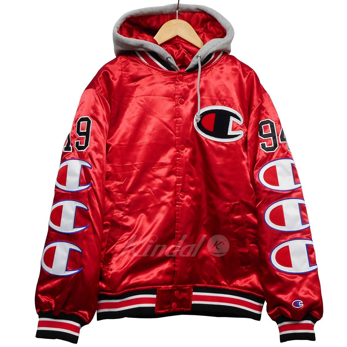 【中古】Supreme x Champion 18AW Hooded Satin Vaesity Jacket レッド サイズ:M 【送料無料】 【241018】(シュプリーム チャンピオン), chama_cha c9c89530