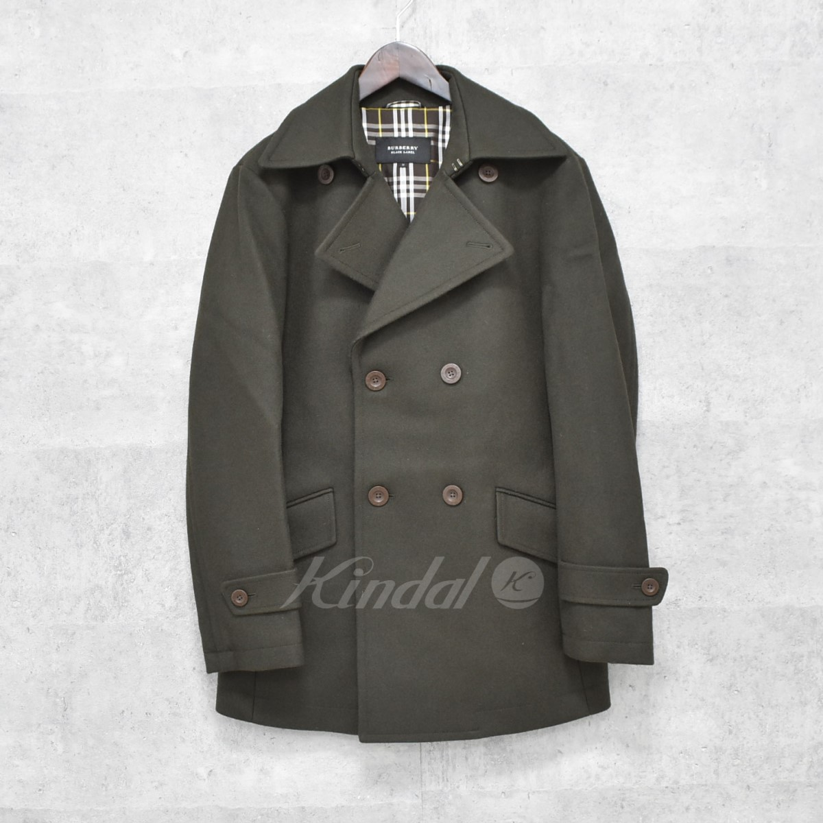【中古】BURBERRY BLACK LABEL Pコート カーキ サイズ:M 【送料無料】 【261018】(バーバリー ブラックレーベル)