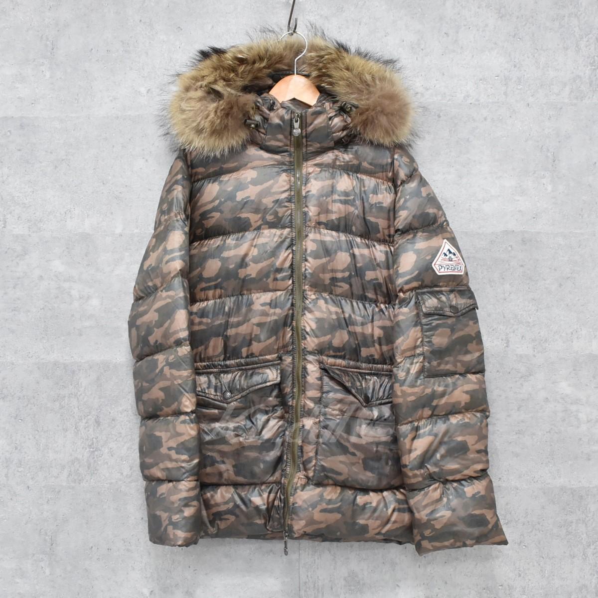 【中古】PYRENEX カモフラダウンジャケット Authentic Jacket カーキ×ブラウン他 サイズ:S 【送料無料】 【261018】(ピレネックス)
