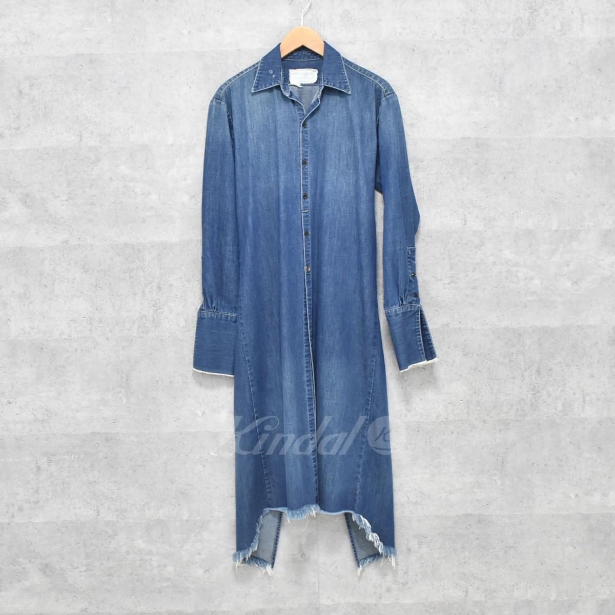 【中古】GREG LAUREN Collared Long Denim Studio Shirt ロングデニムシャツ インディゴ サイズ:0 【送料無料】 【261018】(グレッグローレン)