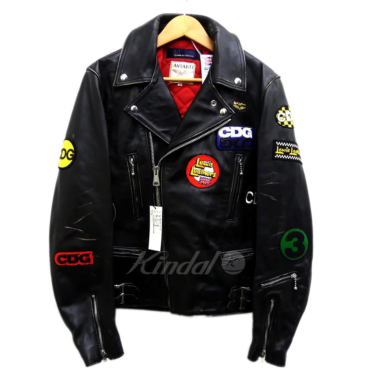 【中古】COMME des GARCONS×Lewis Leather ライトニング レザーライダースジャケット ブラック サイズ:42 【送料無料】 【261018】(コムデギャルソン×ルイスレザー)