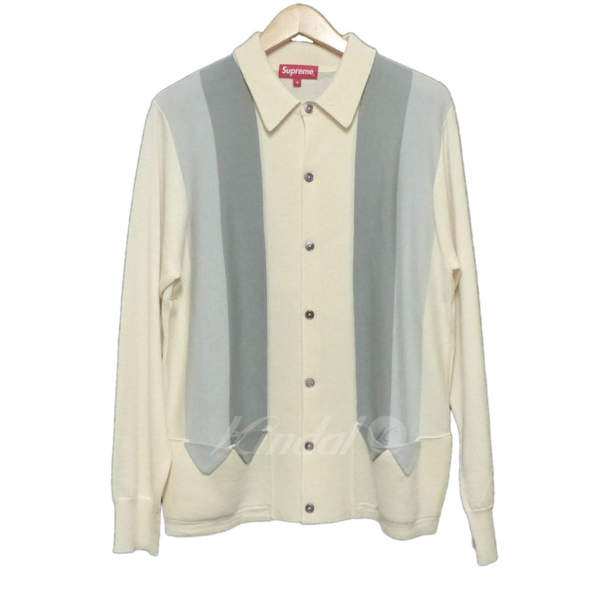 【中古】SUPREME 2017SS ARROWS ASRIPED POLO ニットジャケット ホワイト×グレー サイズ:S 【送料無料】 【281018】(シュプリーム)