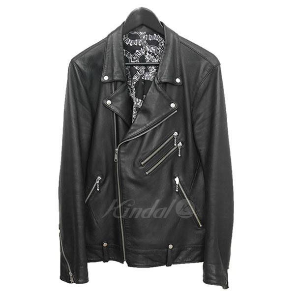 【中古】NUMBER(N)INE×STUDIOUS ラムレザー ダブルライダース ジャケット ブラック サイズ:3 【送料無料】 【281018】(ナンバーナイン×ストゥディオス)