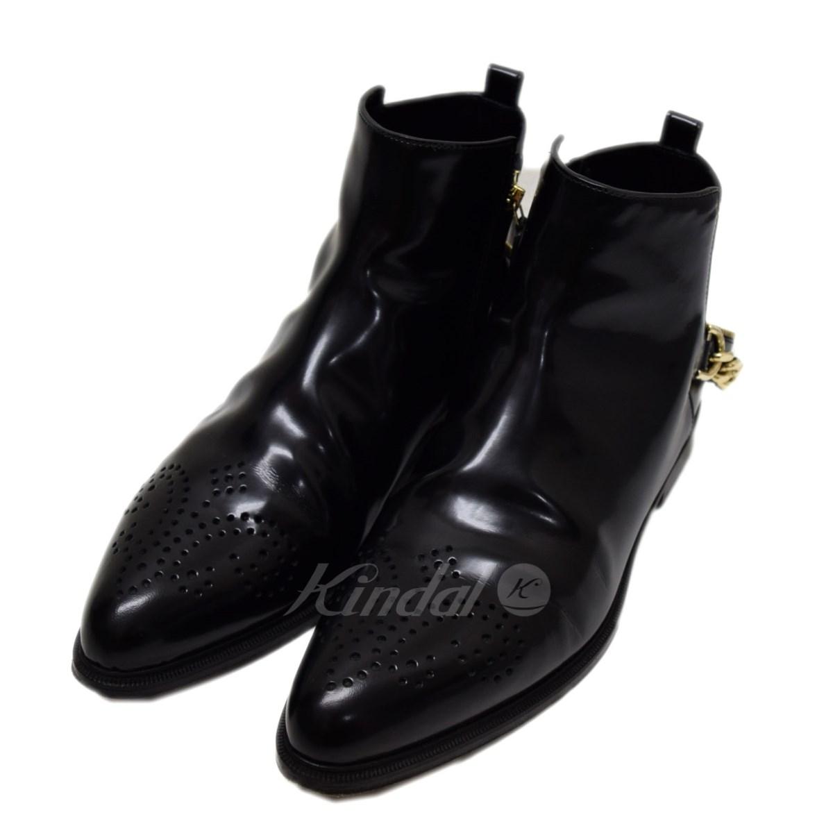 【中古】LANVIN チェーンサイドジップブーツ ブラック サイズ:40 【送料無料】 【281018】(ランバン)