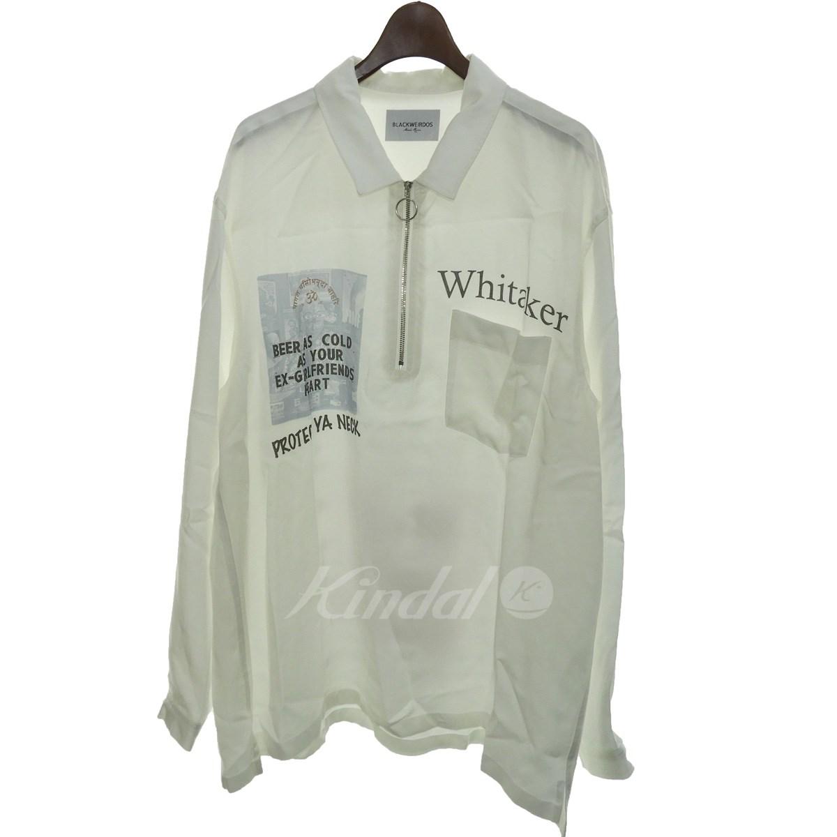 【中古】BLACK WEIRDOS 2018AW 「ZIP Pullover Shirt」ハーフジップシャツ ホワイト サイズ:L 【送料無料】 【281018】(ブラックウィドウ)