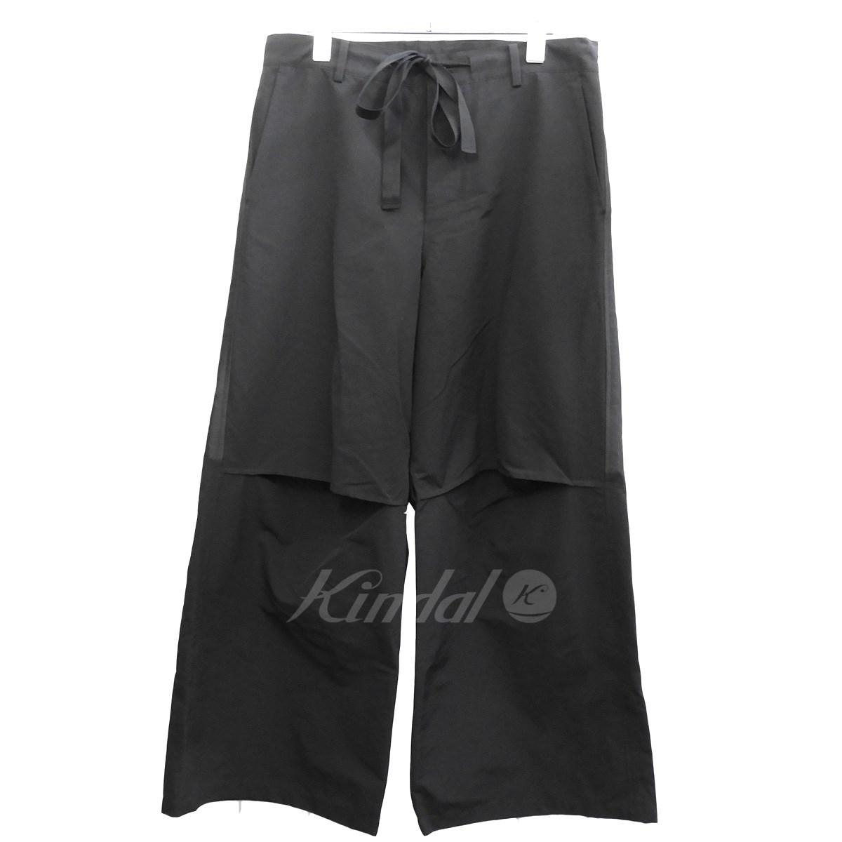 【中古】DRESSEDUNDRESSED 膝デザインワイドパンツ ブラック サイズ:3 【送料無料】 【281018】(ドレスドアンドレスド)