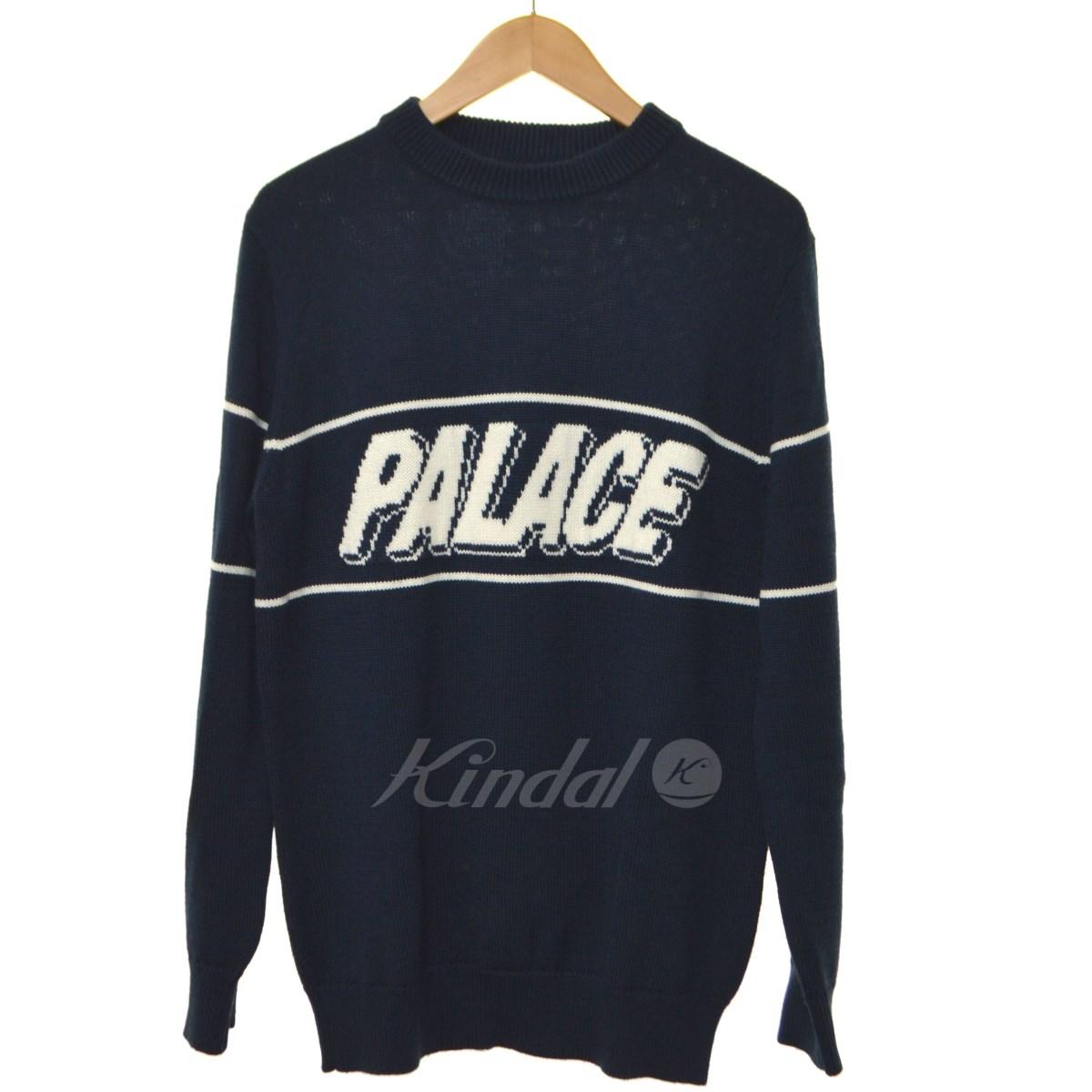 【中古】PALACE クルーネックニット ネイビー サイズ:M 【送料無料】 【281018】(パレス)