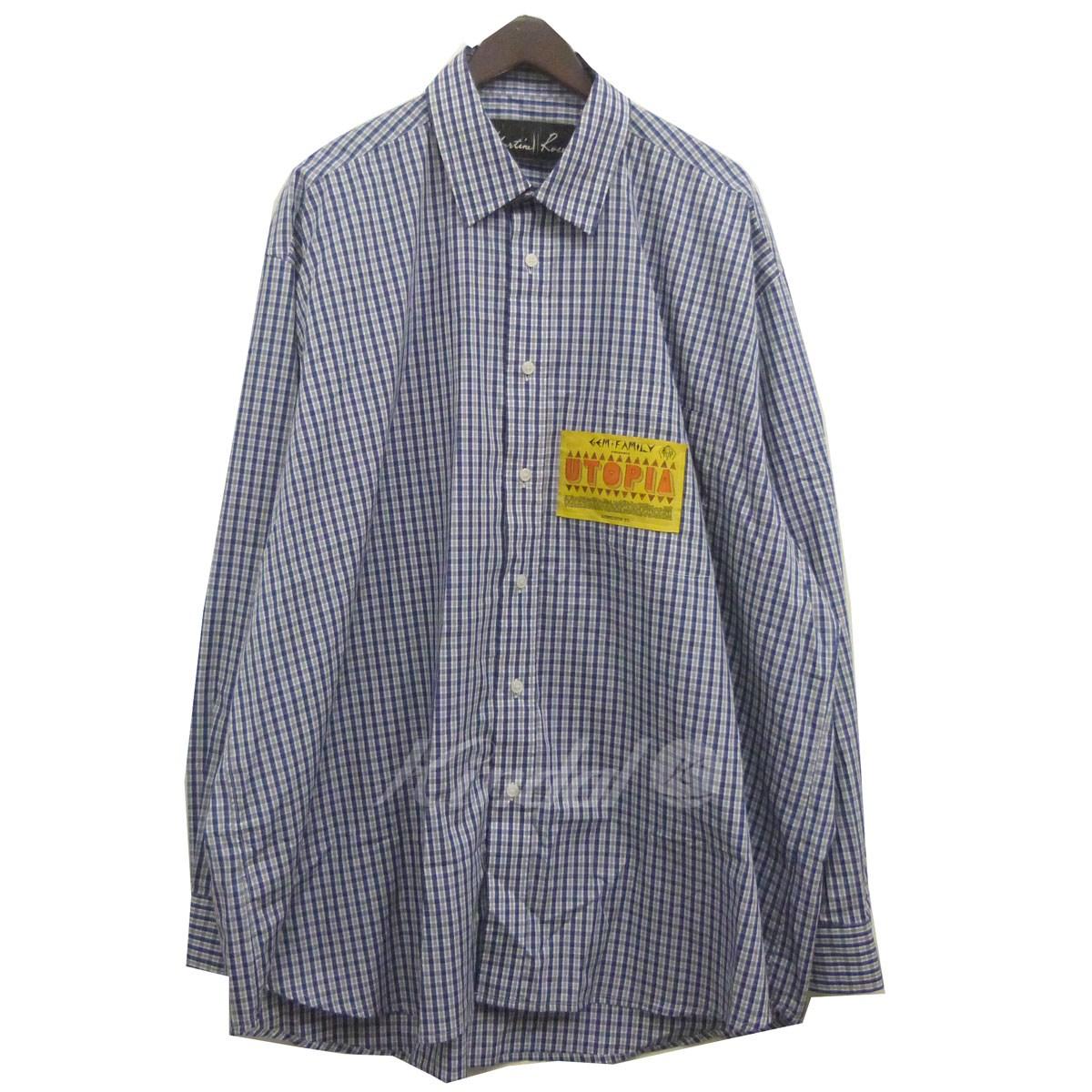 【中古】MARTINE ROSE 18AWボーイフレンドシャツ ブルー×ネイビー サイズ:M 【送料無料】 【271018】(マーティン ローズ)