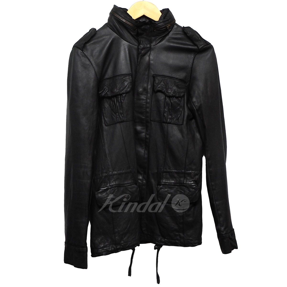 【中古】sissi M-65 フード付きレザーライダースジャケット ブラック サイズ:S 【281018】(シシ)