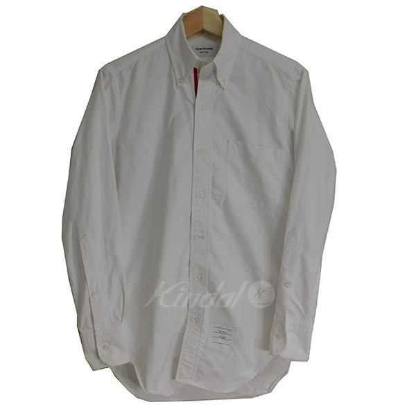 【中古】THOM BROWNE トリコロールボタンダウンシャツ ホワイト サイズ:00 【送料無料】 【281018】(トム・ブラウン)