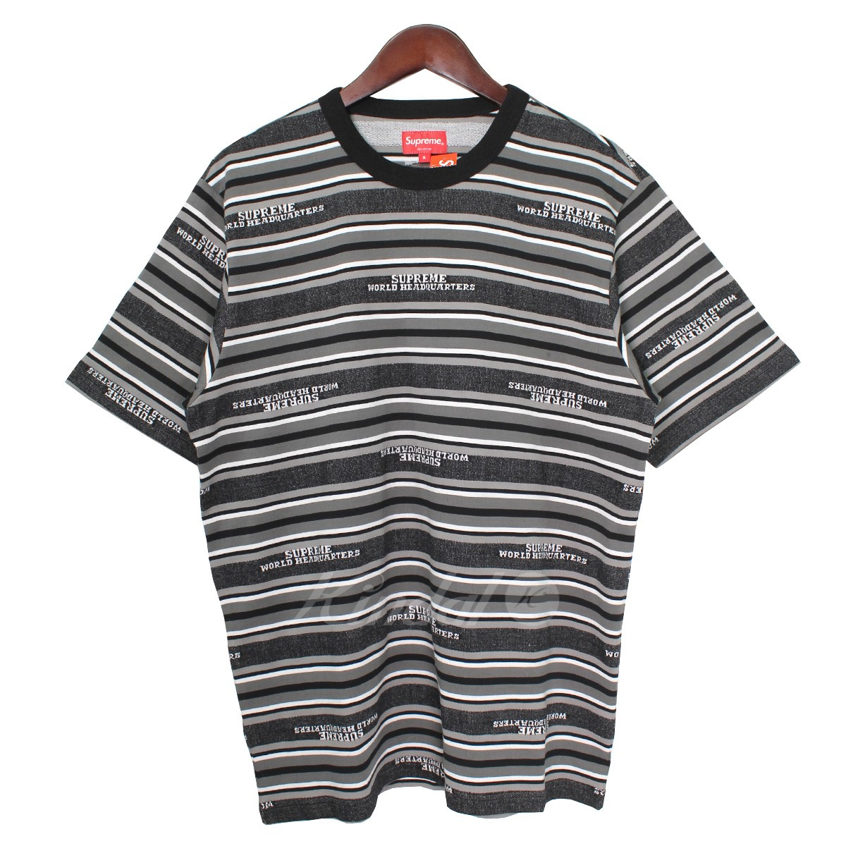 50f625f9 SUPREME 18AW HQ Stripe S/S Top logo horizontal stripe T-shirt black X ...