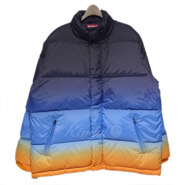 【中古】SUPREME 18SS gradient puffy jacket ダウンジャケット ブルー他 サイズ:L 【送料無料】 【311018】(シュプリーム)