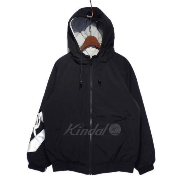 【中古】SUPREME 2018SS「Sleeve Script Sideline Jacket」中綿フードジャケット ブラック サイズ:S 【送料無料】 【311018】(シュプリーム)