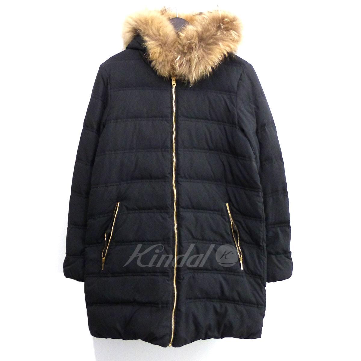 【中古】DEUXIEME CLASSE ラクーンファーダウンジャケット ブラック サイズ:38 【送料無料】 【311018】(ドゥーズィエムクラス)
