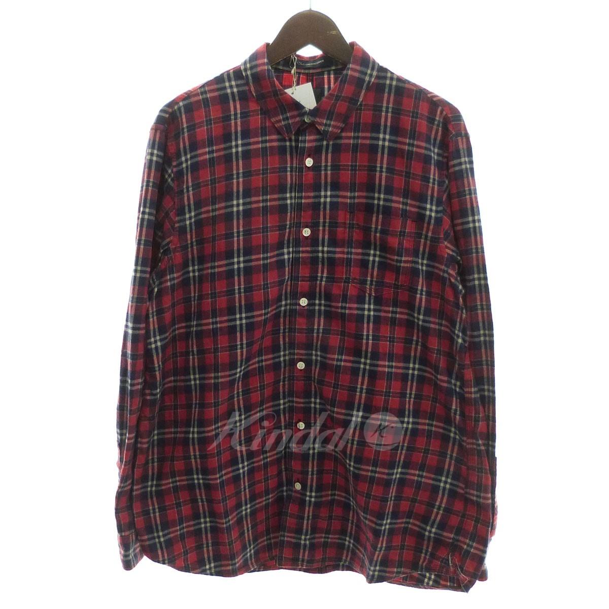 【中古】John UNDER COVER '18AW ラメチェックネルパッカリングシャツ レッド×ネイビー サイズ:2 【送料無料】 【011118】(ジョンアンダーカバー)