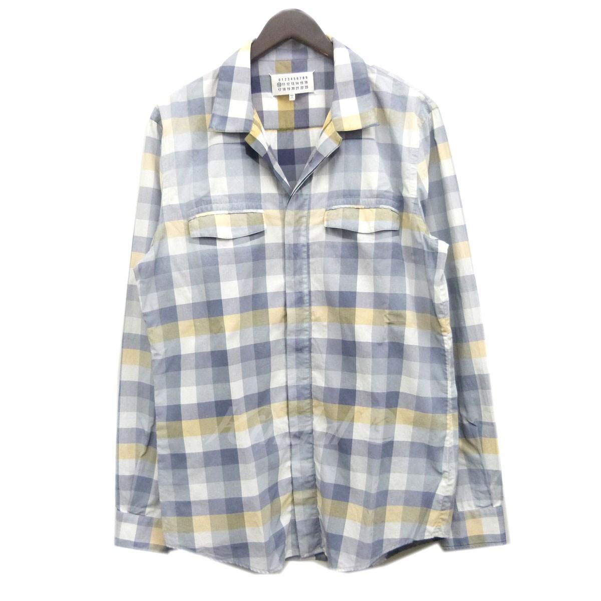 【中古】Martin Margiela 10 13SS USED加工チェックシャツ ホワイト×ネイビー×ベージュ サイズ:48 【送料無料】 【011118】(マルタンマルジェラ10)