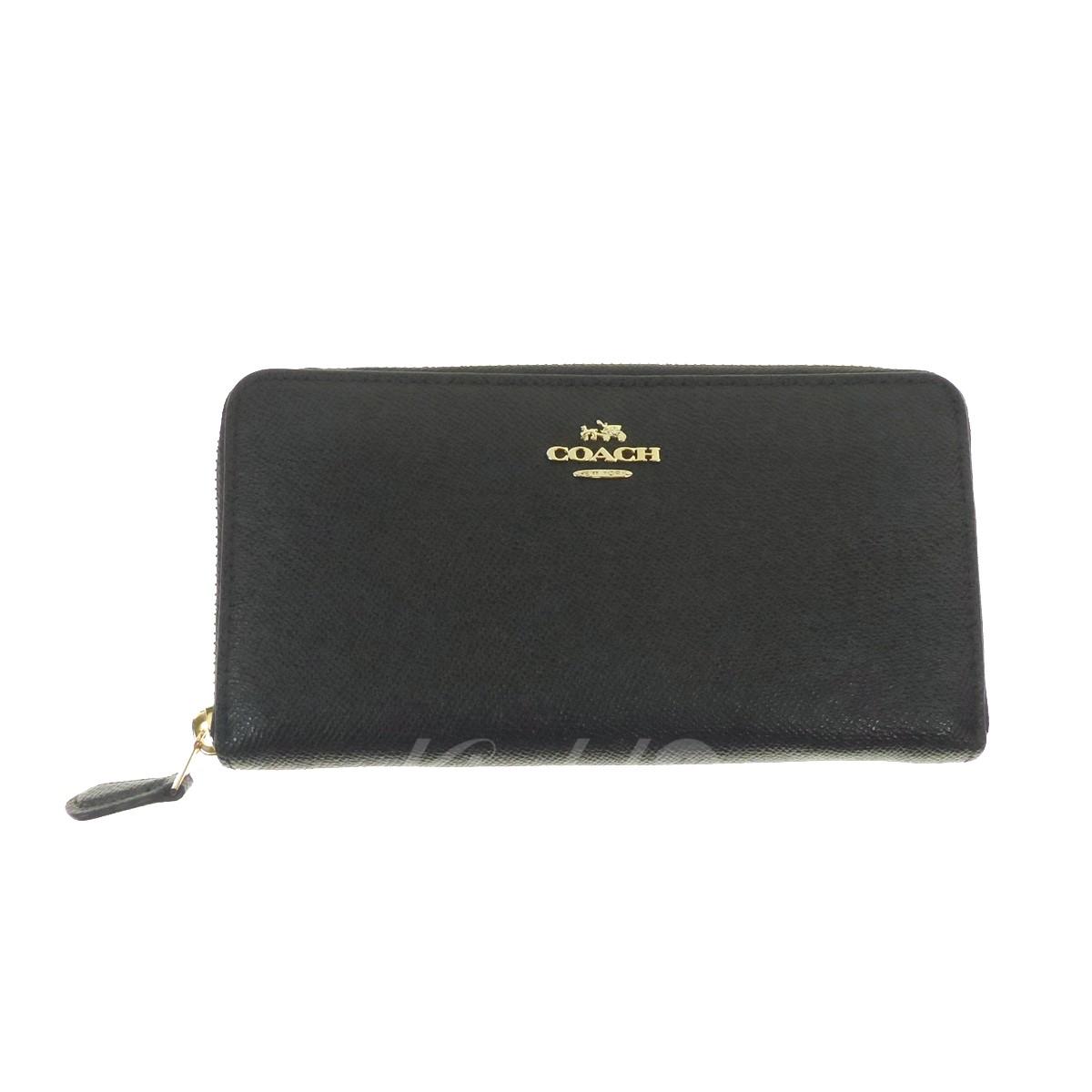 【中古】COACH ラウンドジップ長財布 Accordion zip crossgrain leather ブラック サイズ:- 【送料無料】 【031118】(コーチ)