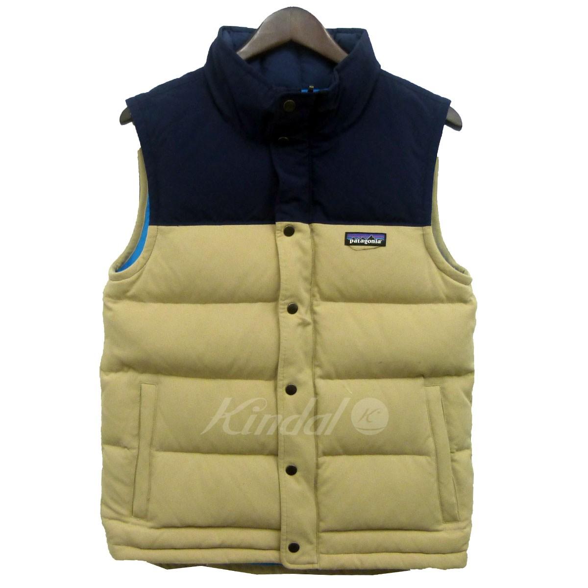 【中古】patagonia 「Bivy Down Vest」ダウンベスト ベージュ×ネイビー サイズ:XS 【送料無料】 【031118】(パタゴニア)