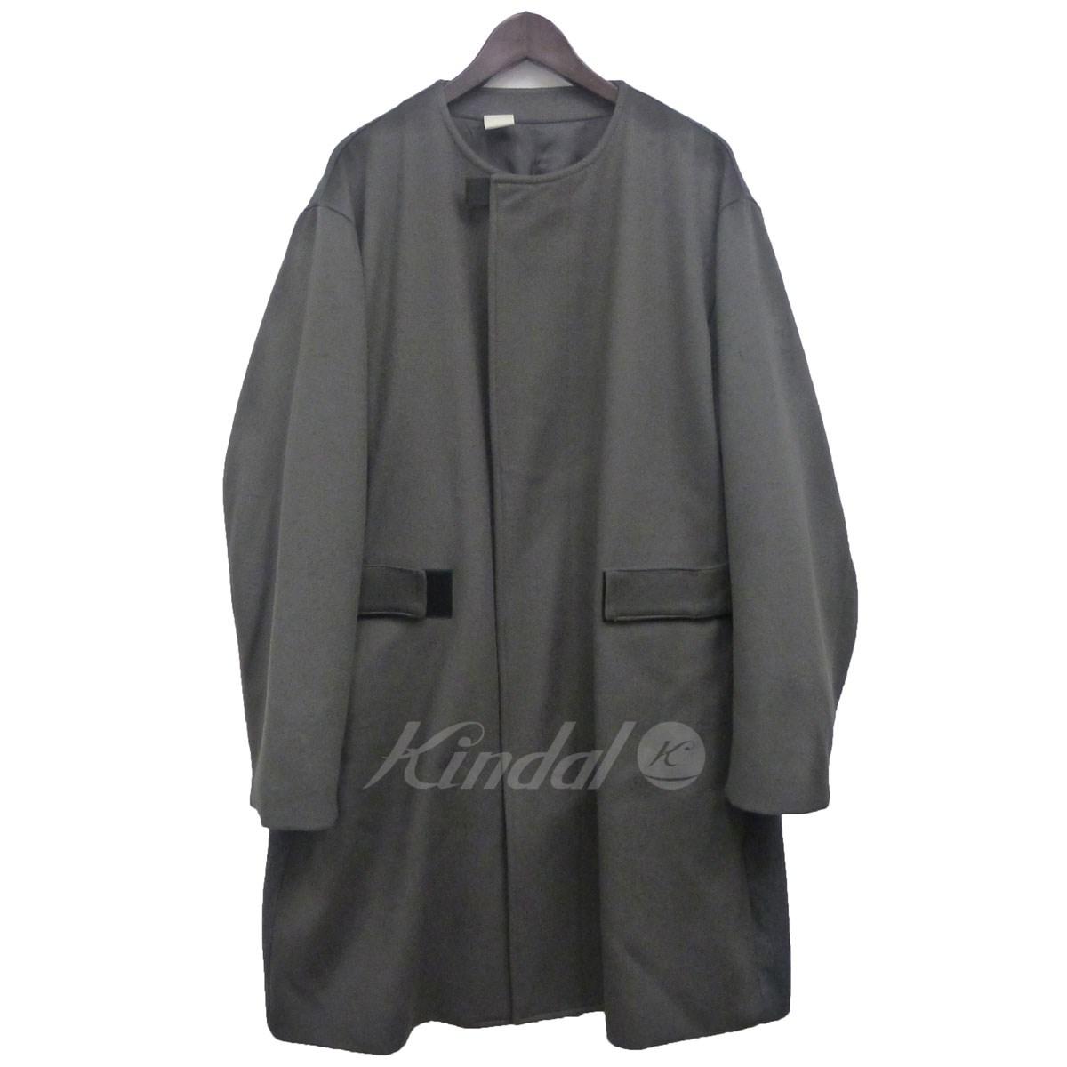 【中古】N.HOOLYWOOD 16AWノーカラーコート チャコールグレー サイズ:40 【送料無料】 【031118】(エヌハリウッド)