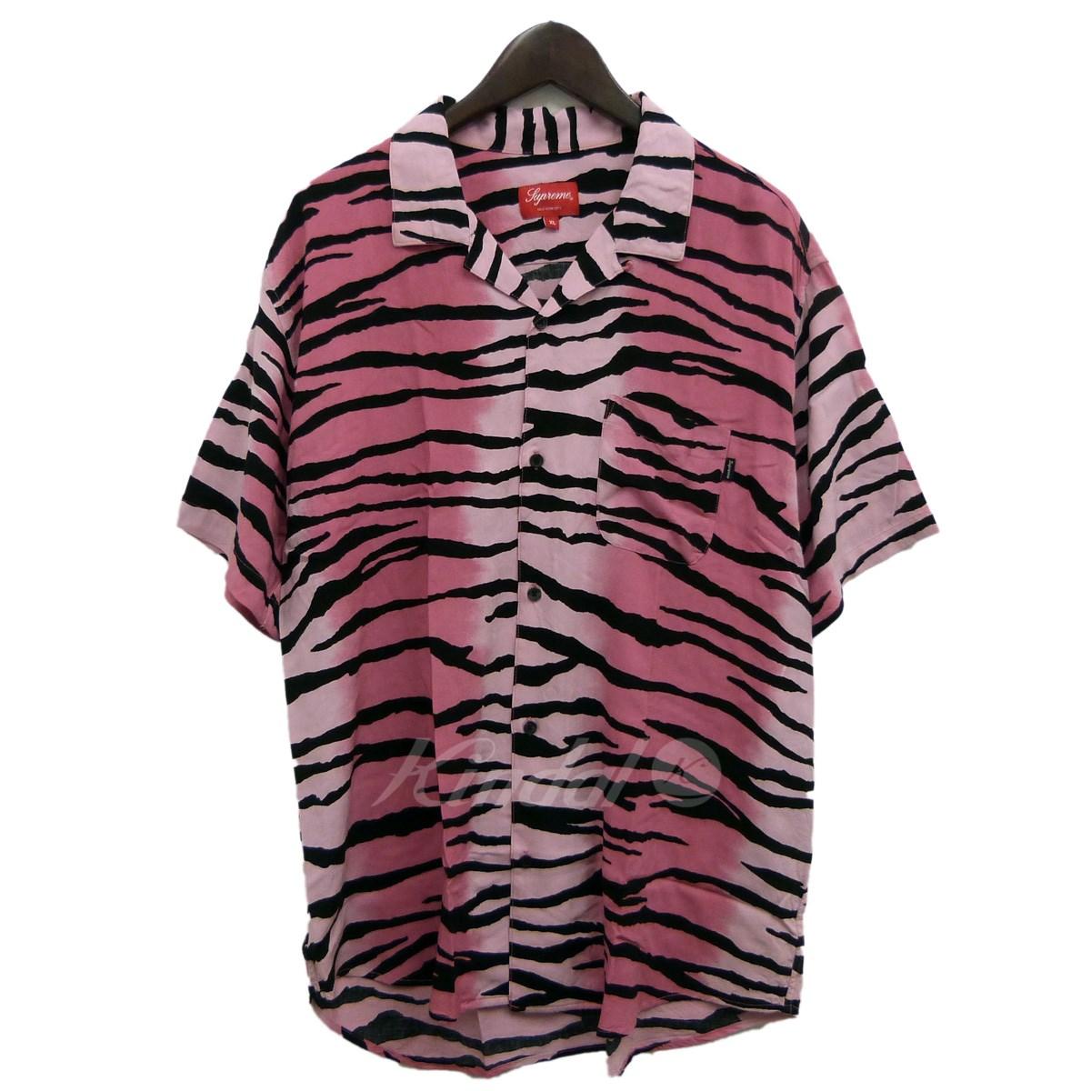 【中古】SUPREME 18SS「Tiger Stripe Rayon Shirt」タイガーストライプオープンカラーシャツ ピンク サイズ:XL 【送料無料】 【041118】(シュプリーム)