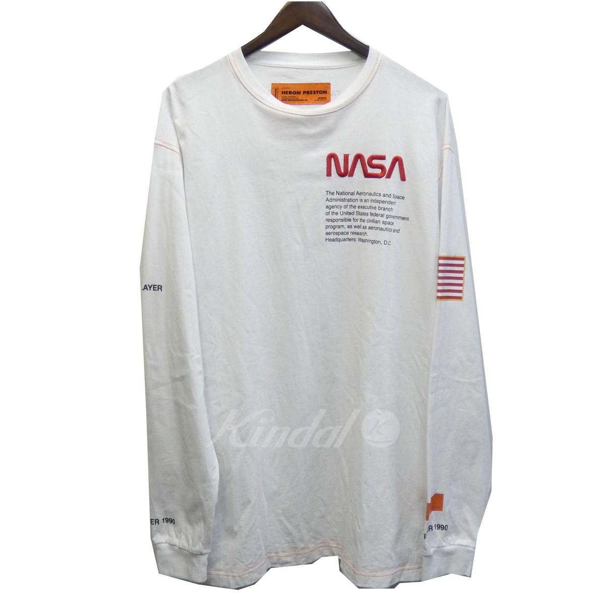 【中古】HERON PRESTON 18AW 「NASA HEAVEY JERSEY LS T」オーバーサイズプリントカットソー ロンT ホワイト サイズ:M 【送料無料】 【041118】(ヘロンプレストン)