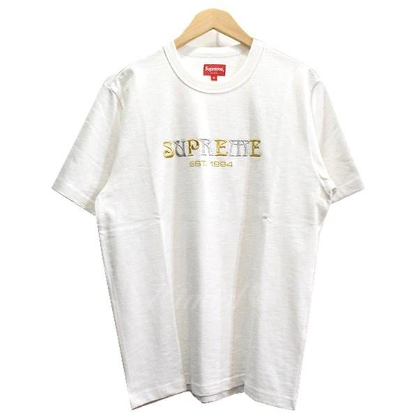 【中古】SUPREME 18AW Nouveau Logo Tee Tシャツ ホワイト サイズ:S 【送料無料】 【041118】(シュプリーム)