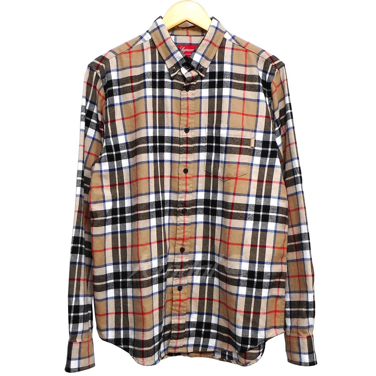 【中古】SUPREME 18AW Tartan L/S Flannel Shirt タン(ベージュ系) サイズ:M 【送料無料】 【041118】(シュプリーム)