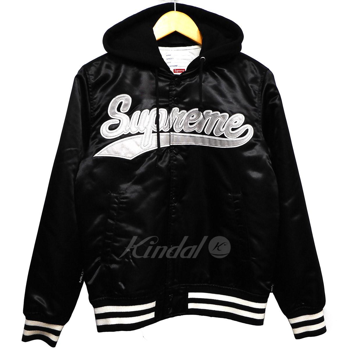 【中古】SUPREME 14SS Hooded Satin Versity Jacket 【送料無料】 【004239】 【KIND1550】