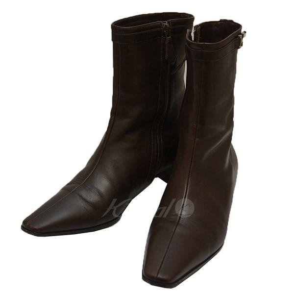 【中古】HERMES Hバックル サイドジップ ブーツ 【送料無料】 【005053】 【KIND1641】
