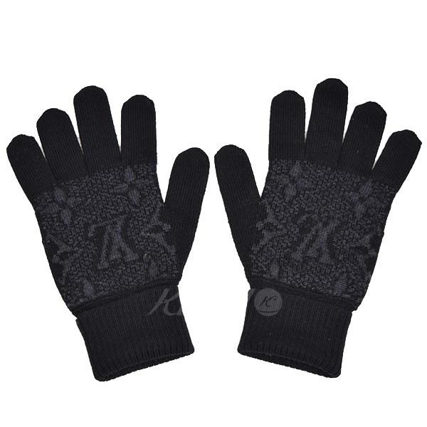 【中古】LOUIS VUITTON ゴン モノグラム エクリプス ウールグローブ 手袋 M70735 ブラック サイズ:FREE 【送料無料】 【051118】(ルイヴィトン)