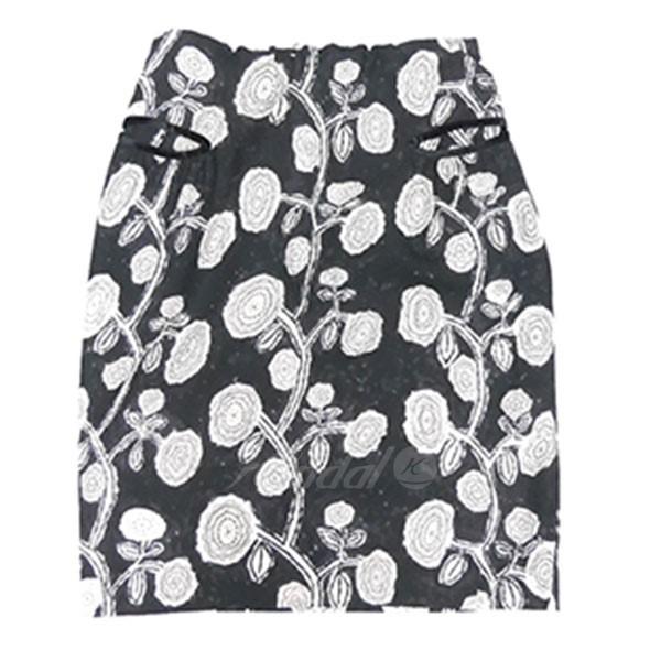 【4月8日 お値段見直しました】【中古】mina perhonengiardino 総柄 スカート ブラック サイズ:36 【送料無料】