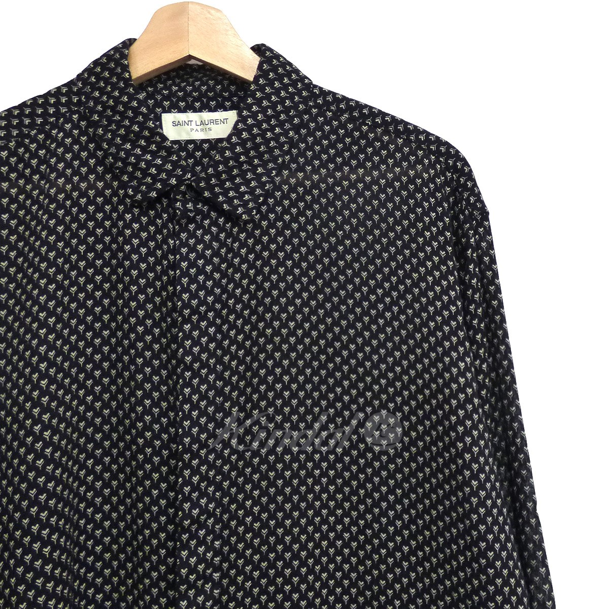 【中古】SAINT LAURENT PARIS 17SS Printed Cotton Shirtオーバーサイズ比翼シャツ 【送料無料】 【002584】 【KIND1641】