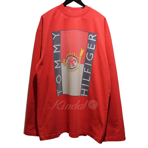 daeeba5c1 VETEMENTS X TOMMY HILFIGER 2018SS Tommy Long Sleeve BIC silhouette long T- shirt red size ...