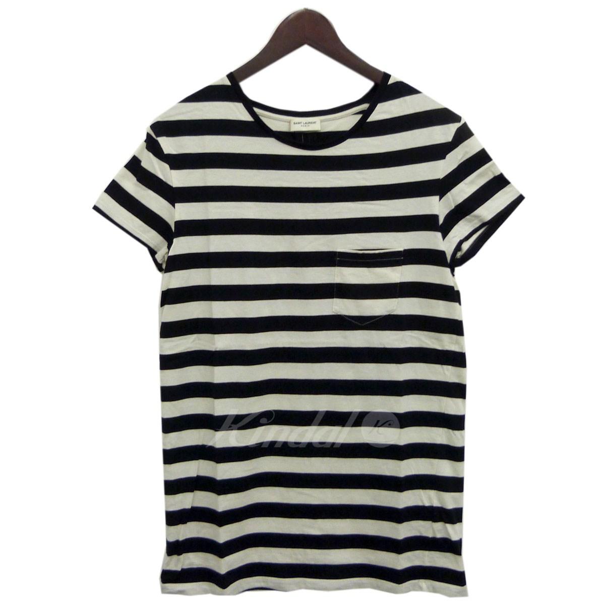 【中古】SAINT LAURENT PARIS 14SSボーダーTシャツ ブラック×ホワイト サイズ:XS 【送料無料】 【091118】(サンローランパリ)