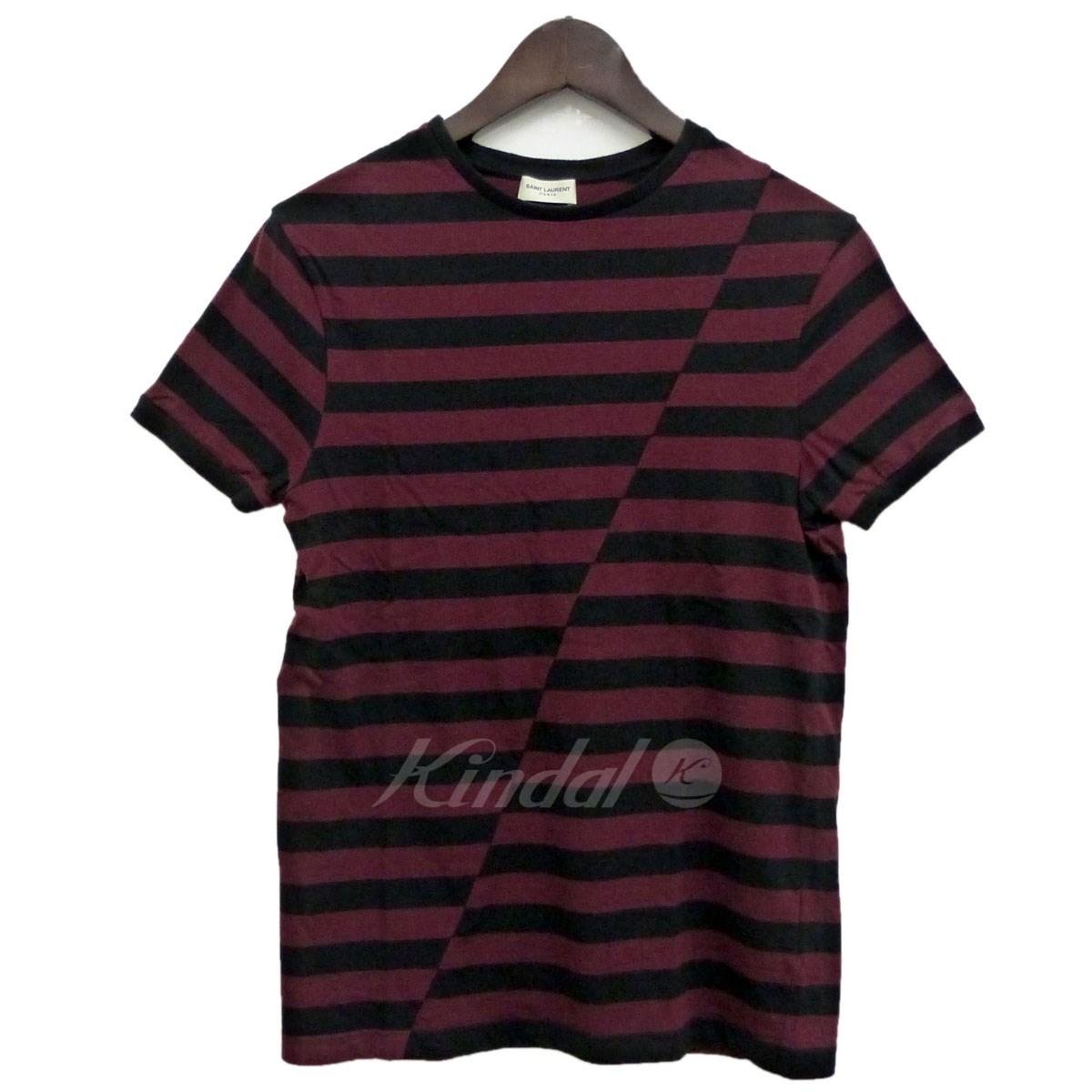 【中古】SAINT LAURENT PARIS 14AWボーダーTシャツ ブラック×バーガンディー サイズ:XS 【送料無料】 【091118】(サンローランパリ)