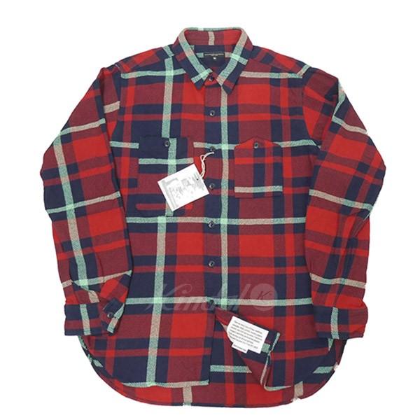 【中古】Engineered Garments 2018AW Work Shirts Heavy Twill Plaid ワーク シャツ レッド×ネイビー サイズ:M 【送料無料】 【091118】(エンジニアドガーメンツ)