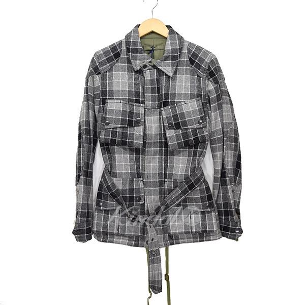 【中古】MIHARA YASUHIROチェックウールジャケット グレー サイズ:46