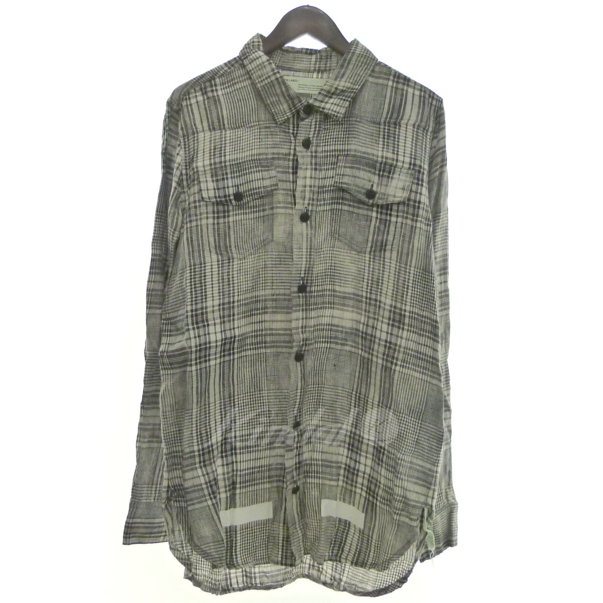 【中古】OFF WHITE 「Mirror Mirro-print checked linen shirt」チェックリネンシャツ 【送料無料】 【146449】 【KIND1550】