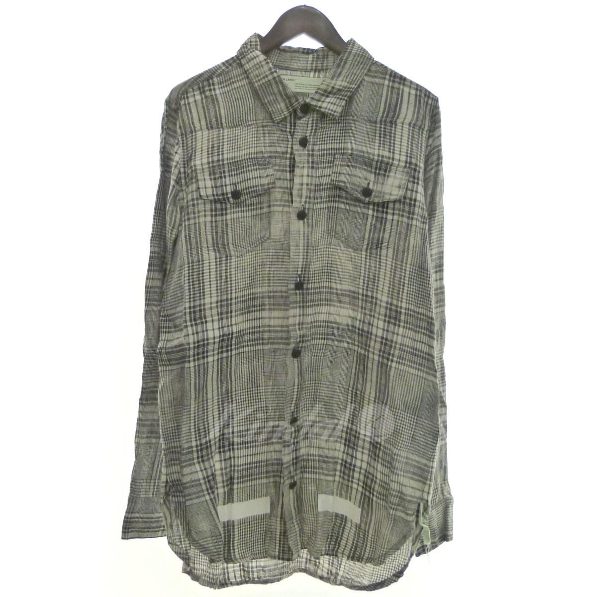 【中古】OFF WHITE 「Mirror Mirro-print checked linen shirt」チェックリネンシャツ 【送料無料】 【146449】 【KIND1550】