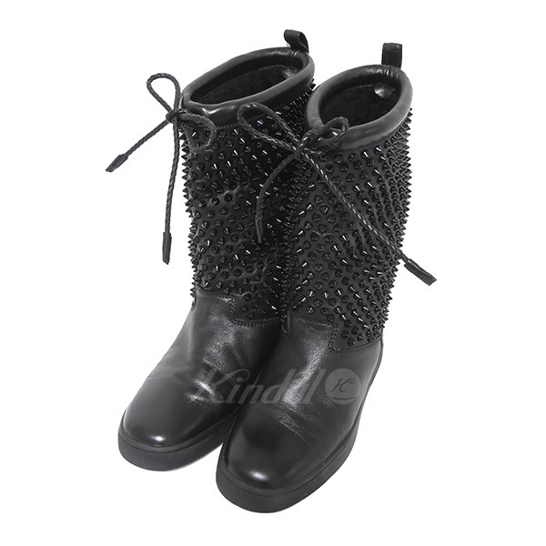 info for 27707 de620 CHRISTIAN LOUBOUTIN SURLAPONY FLAT NAPPA inside boa studs leather boots  black size: 38 5 (クリスチャンルブタン)