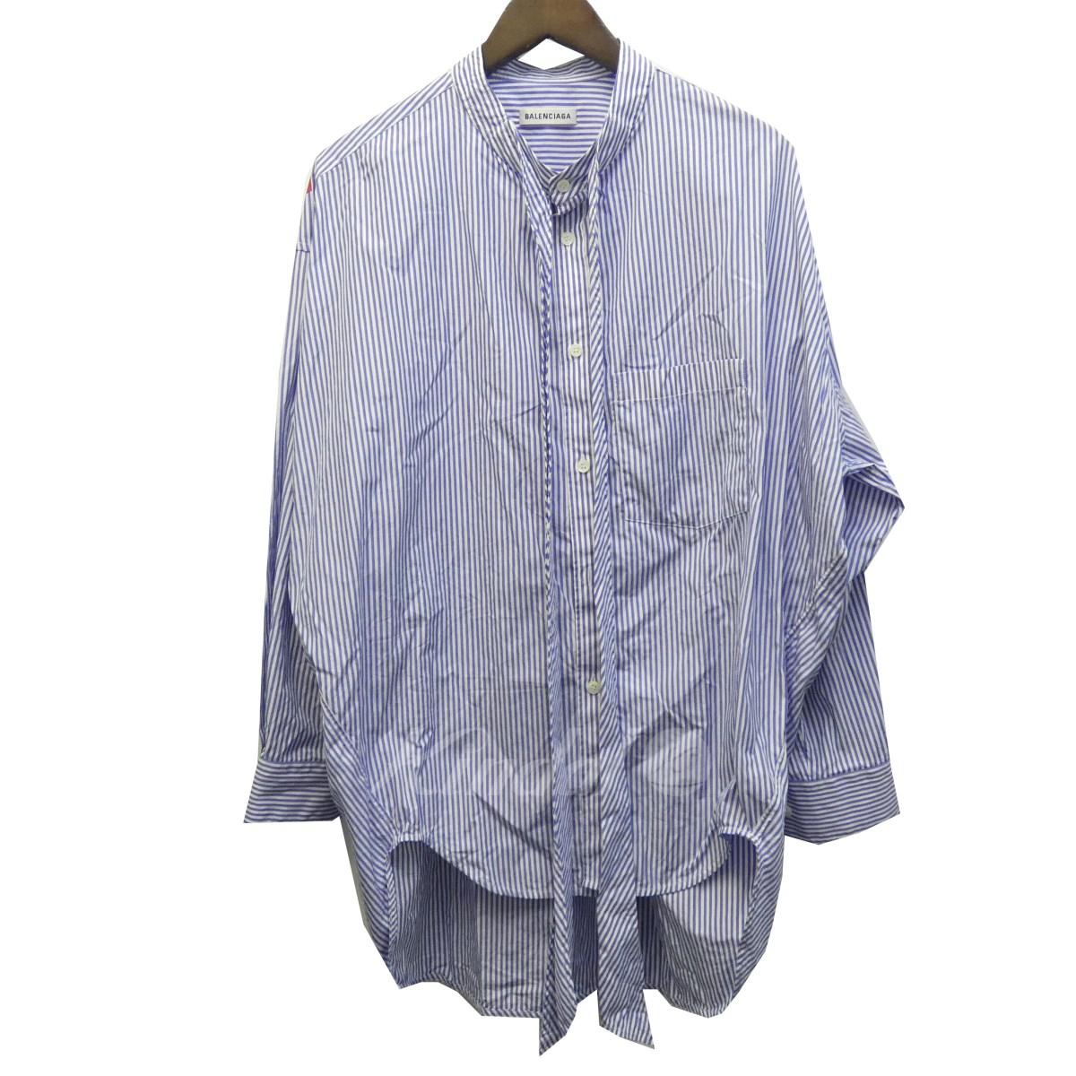【中古】BALENCIAGA 18AW「ニュースウィングシャツ」バックロゴストライプオーバーサイズシャツ 520497 【送料無料】 【114694】 【KIND1550】