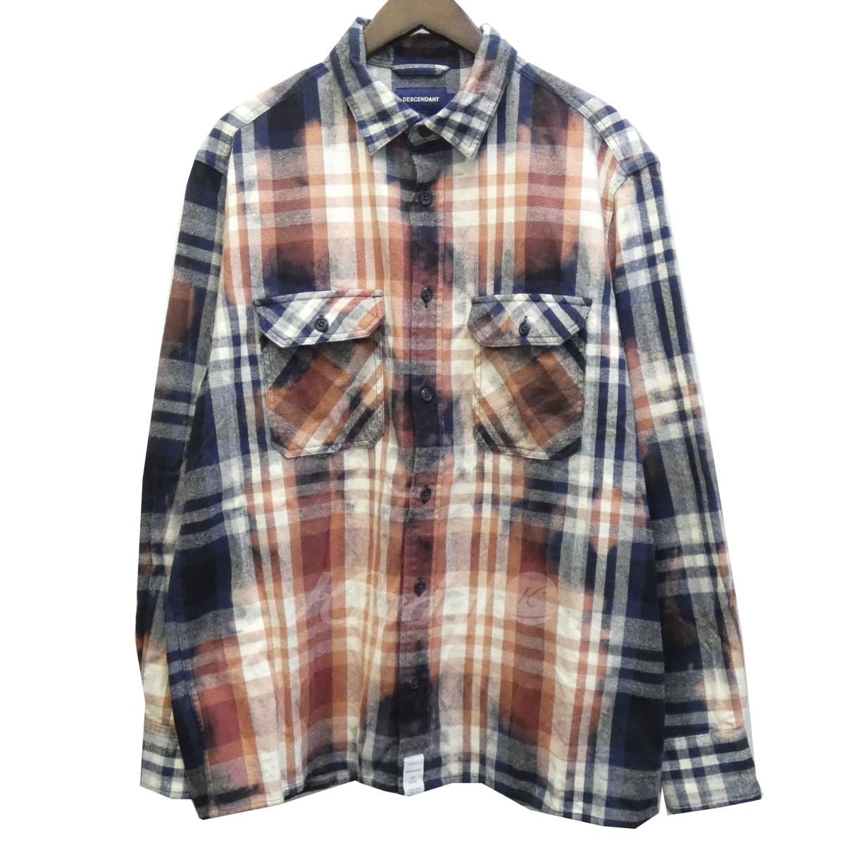 【中古】DESCENDANT 18SS 「MOSS/CHECKER LS SHIRT」ブリーチチェックネルシャツ 【送料無料】 【114984】 【KIND1550】