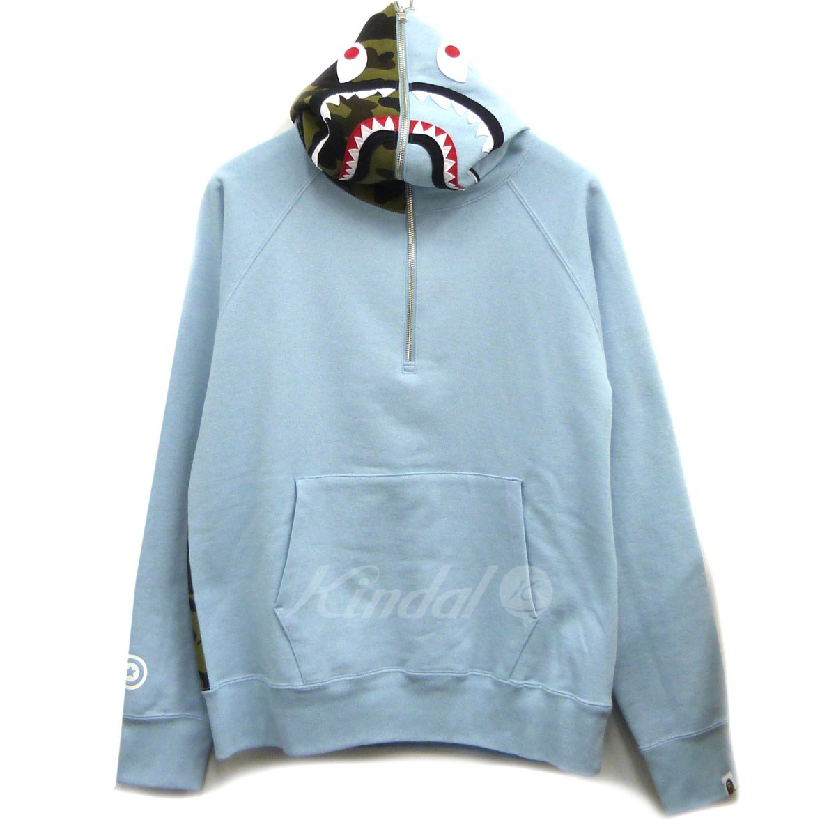 【中古】A BATHING APE 18AW「SHARK WIDE HALF ZIP PILLOVER HOODIE」シャークパーカー 【送料無料】 【142531】 【KIND1550】